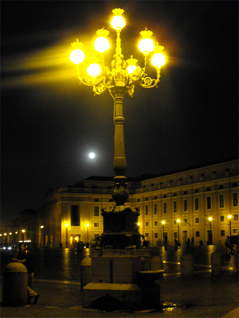 St Peter's Square lit up by both