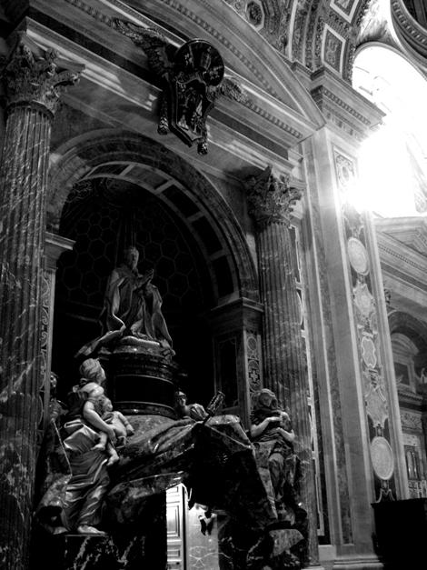 Intricate decorative work inside the basilica