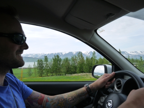 Action shot of the drive to Húsavík