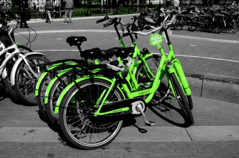 Green rental bikes - Amsterdam, Netherlands