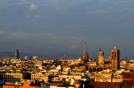 Rooftops, the Torre Agbar and the Cathedral from the Barcelo Raval rooftop