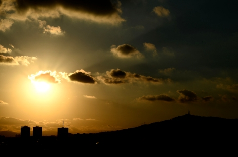 Sundown over Barcelona from the Barcelo Raval rooftop bar
