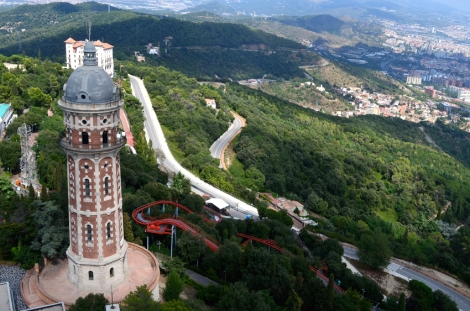 Looking down at the amusement park and winding roads from the top of Tibidabo