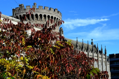 Dublin Castle hiding behind the autumn leaves