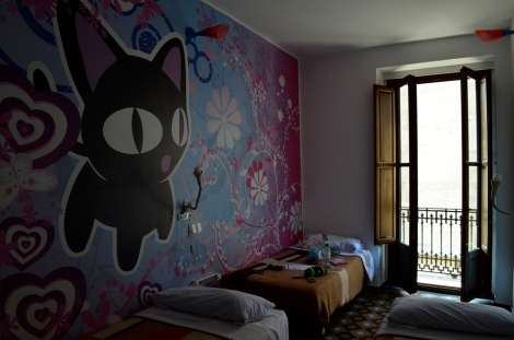 I stayed in the ace Home Youth Hostel - complete with awesome wall art in my room...